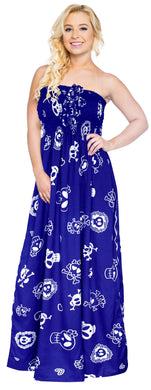 LA LEEL Beach Swimwear Soft Printed Cruise Vintage Vacation Tube Dress Women Blue pirates theme