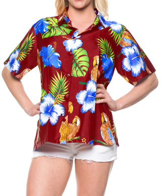 LA LEELA Women's Beach Casual Hawaiian Blouse Short Sleeve button Down Shirt Maroon
