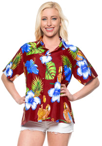 la-leela-womens-beach-casual-hawaiian-blouse-short-sleeve-button-down-shirt-maroon