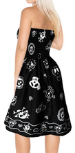 Load image into Gallery viewer, LA LEELA Women's One Size Beach Dress Tube Dress Blue One Size Skull printed black