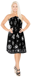 LA LEELA Women's One Size Beach Dress Tube Dress Blue One Size Skull printed black