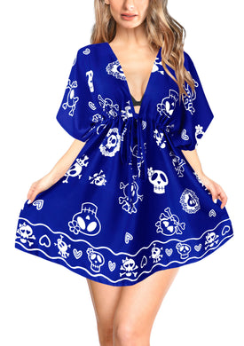 LA-LEELA-Bikni-Swimwear-Women's-Skull-Halloween-Costume-Beach-Swimsuit-Cover-Ups-Drawstring-Blue_B808