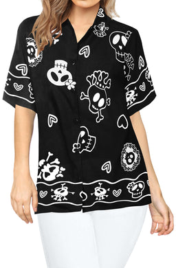LA LEELA-Womens-Skull-Halloween-Costume-Casual-Beach-Hawaiian-Shirts-Printed-Black-Skulls-printed