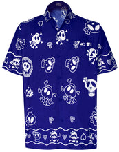 Load image into Gallery viewer, LA LEELA Regular Size Beach hawaiian Shirt for Aloha Tropical Beach front Short Sleeve for Men Blue