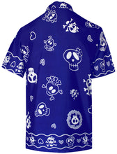 Load image into Gallery viewer, la-leela-regular-size-beach-hawaiian-shirt-for-aloha-tropical-beach-front-pocket-short-sleeve-for-men-blue