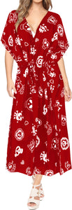 LA LEELA Likre Skull Printed Long Caftan Dress Women Red Long
