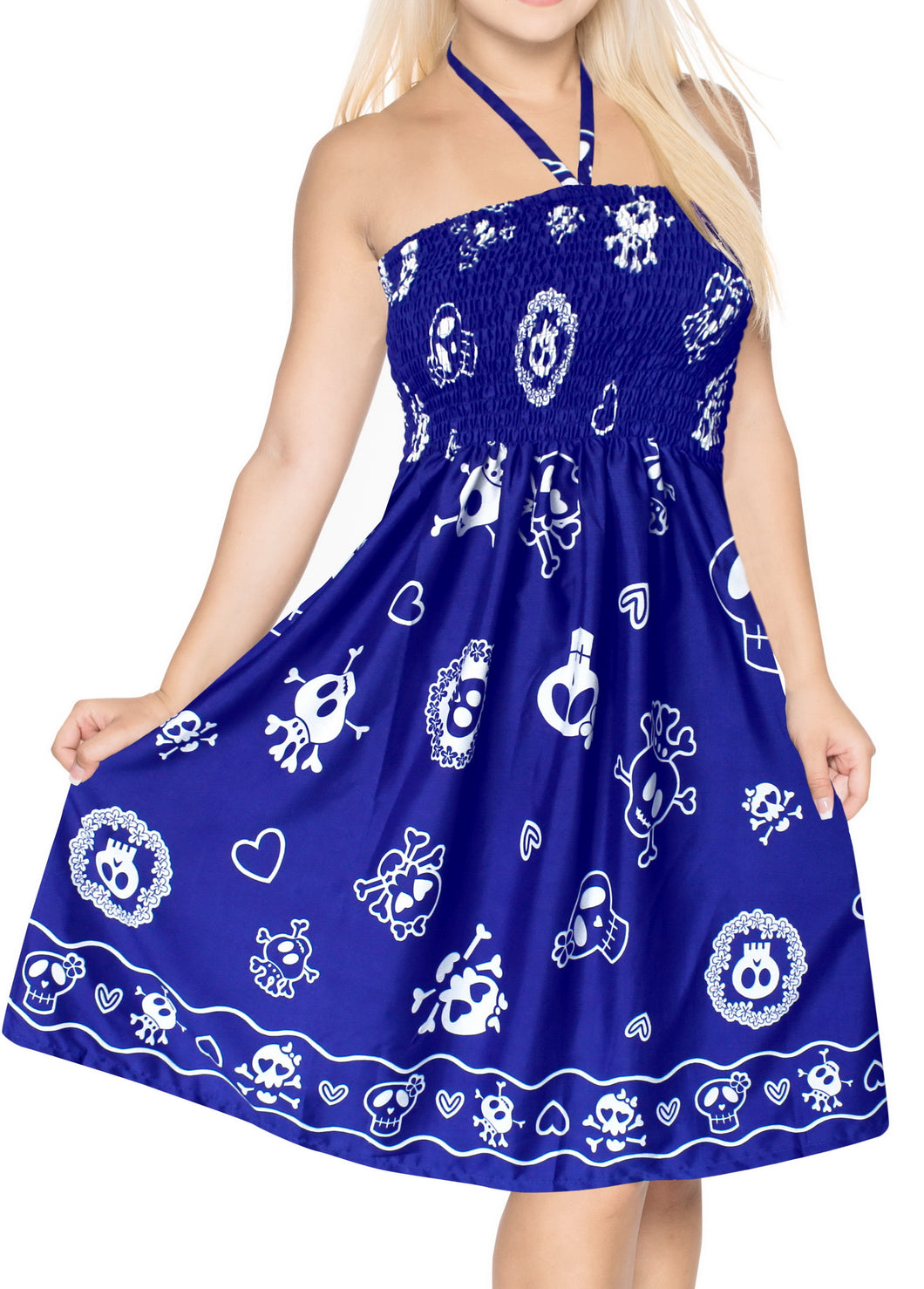 la-leela-womens-one-size-beach-dress-tube-dress-Blue-one-size-Skull-Printed