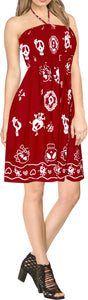 LA LEELA Women's One Size Beach Dress Tube Dress Blue One Size Skull printed Red