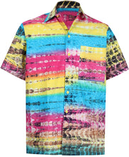 Load image into Gallery viewer, la-leela-men-casual-wear-cotton-hand-printed-multi-color-hawaiian-shirt-size-s-xxl