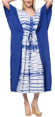 LA LEELA Lounge Rayon Tie_Dye Long Caftan Women's Royal Blue_1381 OSFM 14-32W [L-5X]
