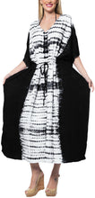 Load image into Gallery viewer, la-leela-rayon-tie_dye-caftan-beach-dress-beach-top-black_1383-osfm-14-32w-l-5x