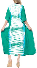 Load image into Gallery viewer, la-leela-rayon-tie_dye-caftan-beach-dress-vacation-top-green_1384-osfm-14-32w
