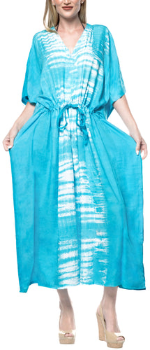 LA LEELA Lounge Rayon Tie_Dye Long Caftan Dress Women Blue_1385 OSFM 14-32W [L-5X]