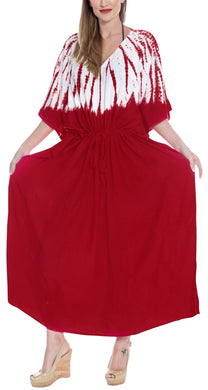 LA LEELA Lounge Rayon Tie_Dye Long Caftan Tunic Top Women Red_1400 OSFM 14-32W [L-5X]