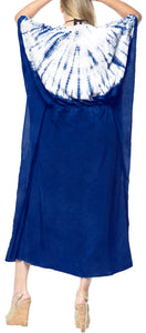 LA LEELA Lounge Rayon Tie_Dye Long Caftan Dress Girl Royal Blue_1401 OSFM 14-32W [L-5X]