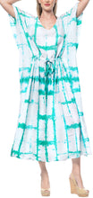 Load image into Gallery viewer, la-leela-rayon-tie_dye-caftan-beach-dress-vacation-top-green_1409-osfm-14-32w