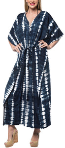 LA LEELA Rayon Tie_Dye Caftan Beach Dress Beach Top Black_1411 OSFM 14-32W [L-5X]
