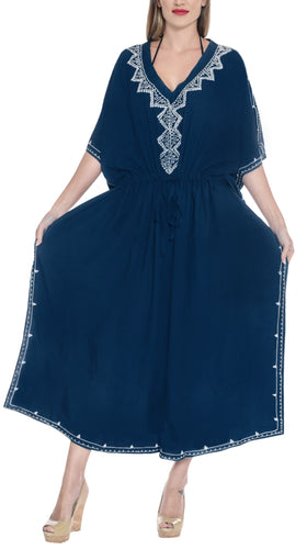 LA LEELA Rayon Solid Caftan Beach Dress Women Blue_4082 OSFM 14-22W