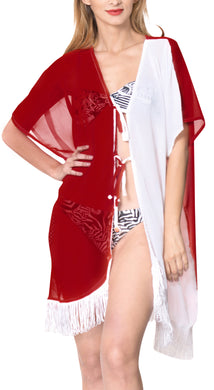 LA LEELA Kimono Cardigan Bikini Cover up jacket loose Bikini Womens OSFM 14-18 [L-2X] White_662
