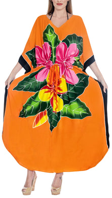 LA LEELA Lounge Rayon Printed Long Caftan Swimwear Girls Orange_1412 OSFM 12-20W [L-2X]