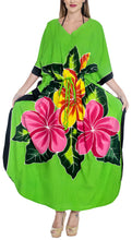 Load image into Gallery viewer, la-leela-rayon-printed-caftan-beach-dress-top-parrot-green_1413-osfm-12-20wl-2x