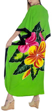 Load image into Gallery viewer, LA LEELA Rayon Printed Caftan Beach Dress Top Parrot Green_1413 OSFM 12-20W[L-2X]
