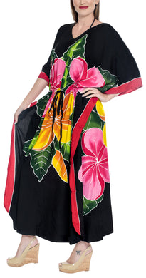 LA LEELA Lounge Rayon Printed Long Caftan Swimwear Dress Black_1414 OSFM 12-20W [L-2X]