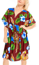 Load image into Gallery viewer, la-leela-likre-printed-short-caftan-beach-dress-maroon_4088-osfm-16-28w-xl-4x-maroon_b635
