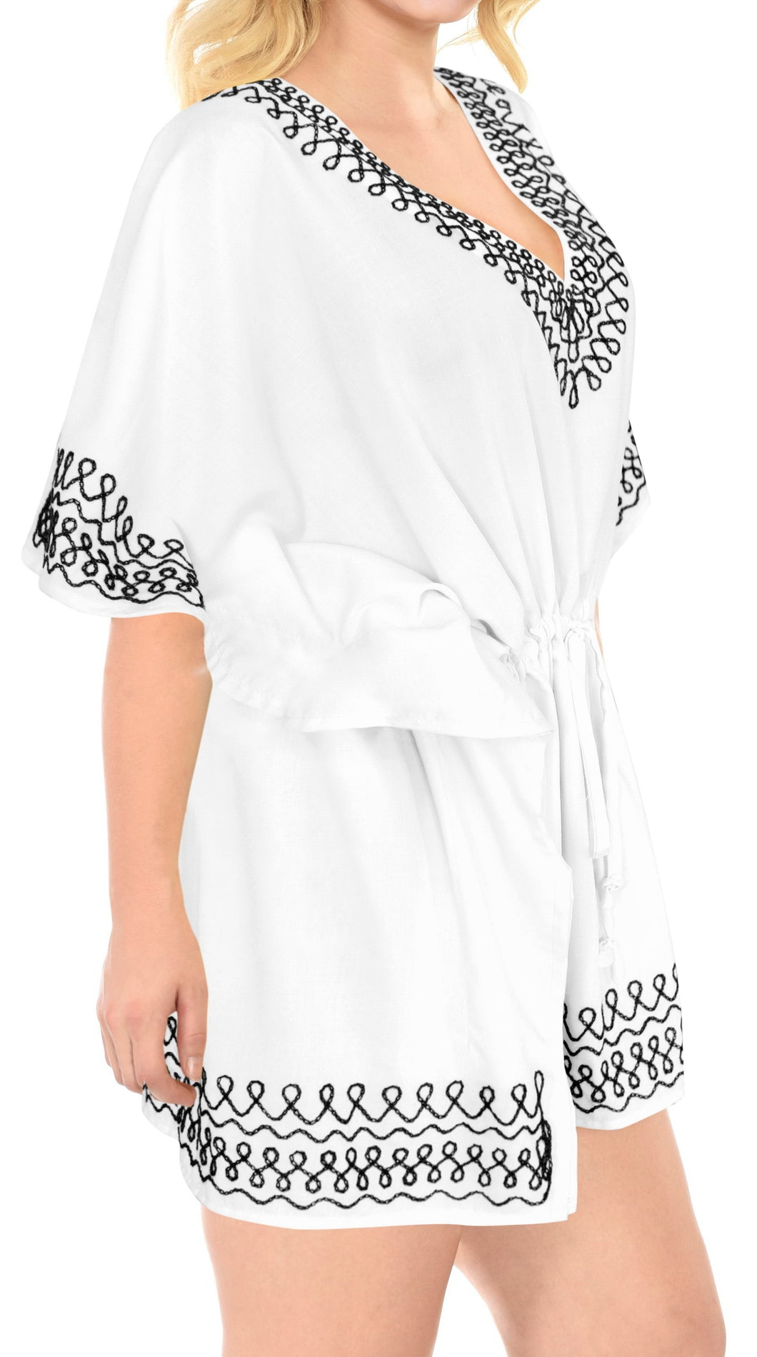 la-leela-bikini-swim-beach-wear-swimsuit-cover-ups-women-caftan-dress-solid-OSFM 16-28W [XL- 4X]-Ghost White_B619