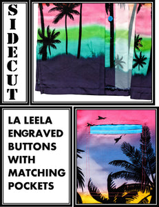 LA LEELA Shirt Casual Button Down Short Sleeve Beach Shirt Men Pocket HD 226
