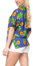 Load image into Gallery viewer, la-leela-womens-beach-casual-hawaiian-blouse-short-sleeve-button-down-shirt-blue-drt153