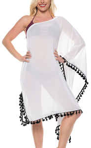LA LEELA Chiffon Solid Loose Casual Cover Up OSFM 8-18 [M-XL] White_557 White_B542
