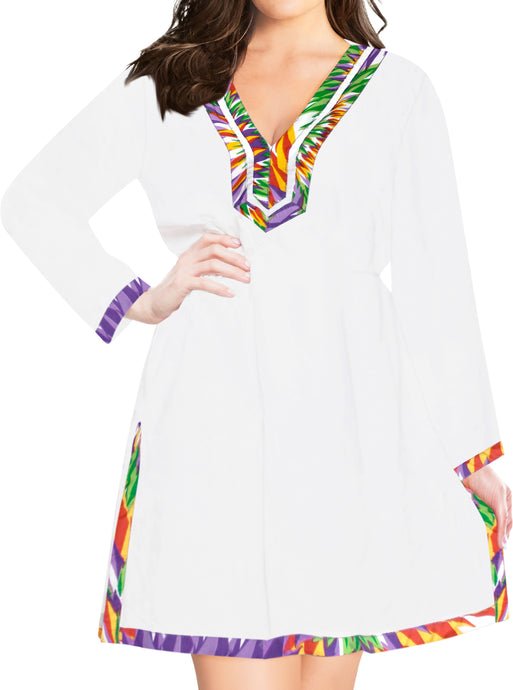 la-leela-bikini-swim-beach-wear-swimsuit-cover-ups-women-caftan-dress-solid-OSFM 8-14 [M- L]-Ghost White_B536