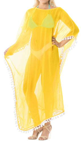 LA LEELA Chiffon Solid Long Caftan Vacation Top Yellow_4110 OSFM 14-18W [L-2X] Yellow_B522