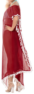 LA LEELA Chiffon Solid Long Caftan Tunic Dress Women Red_4112 OSFM 14-18W [L-2X]