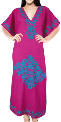la-leela-lounge-rayon-solid-long-caftan-nightgown-women-OSFM 16-28W [XL- 4X]-Pink_B456