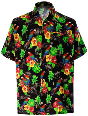 LA LEELA Men's Aloha Hawaiian Shirt Short Sleeve Button Down Casual Beach Party DRT154 Black