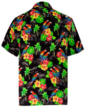 Load image into Gallery viewer, LA LEELA Men's Aloha Hawaiian Shirt Short Sleeve Button Down Casual Beach Party DRT154 Black