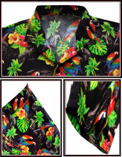 Load image into Gallery viewer, la-leela-mens-aloha-hawaiian-shirt-short-sleeve-button-down-casual-beach-party-drt154-black