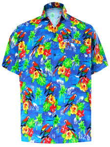 LA LEELA Men's Aloha Hawaiian Shirt Short Sleeve Button Down Casual Beach Party DRT154 Blue