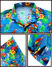 Load image into Gallery viewer, la-leela-mens-aloha-hawaiian-shirt-short-sleeve-button-down-casual-beach-party-drt154-blue