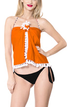 Load image into Gallery viewer, la-leela-pv-cover-up-nightwear-women-sarong-solid-30-71x8-27-dark-orange_443-orange_b370