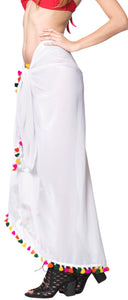 "La Leela Sheer Chiffon Women Swimsuit Cover Up Sarong Solid 78""X39"" White_1787"