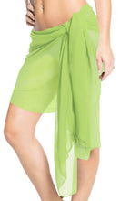 Load image into Gallery viewer, la-leela-swimwear-sheer-chiffon-casual-pareo-girl-swimsuit-sarong-solid-78x21-light-green_173
