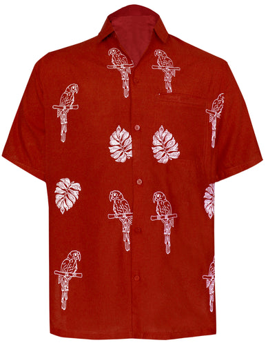 LA LEELA Men's Beach Hawaiian casual Aloha Button Down Short Sleeve shirt Red_W862