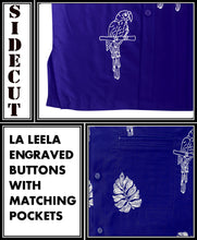 Load image into Gallery viewer, la-leela-mens-beach-hawaiian-casual-aloha-button-down-short-sleeve-shirt-Blue_W859