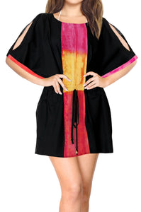 LA LEELA-Women's-Rayon-Beach-Cover-up-Swimsuit-Kimono-Cardigan-with-Bohemian-Floral Print- Short-OSFM 14-20W [L- 2X]