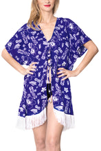 Load image into Gallery viewer, LA LEELA fabric Printed Spring Summer Kimono OSFM 14-18 [L-2X] Royal Blue_6547 Blue_B145