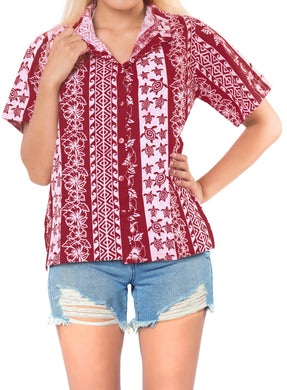 LA LEELA Women's Beach Casual Hawaiian Blouse Short Sleeve button Down Shirt Red