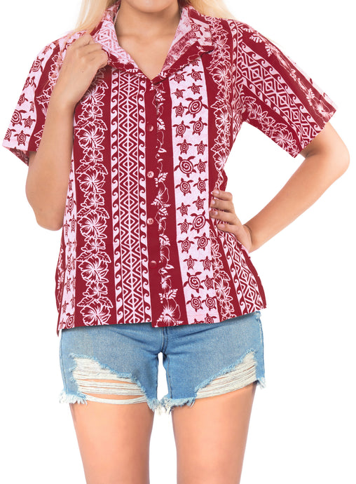 la-leela-womens-beach-casual-hawaiian-blouse-short-sleeve-button-down-shirt-red